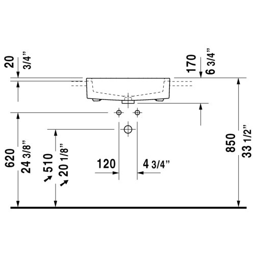 Vero Semi-recessed Washbasin Without Faucet Hole