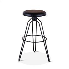 Winston Black Leather Bar Stool