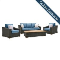 New Boston 4 Piece Wicker Patio Conversation Set Product Image