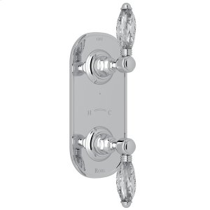 """Polished Chrome Italian Bath 1/2"""" Thermostatic/Diverter Control Trim with Crystal Lever Product Image"""