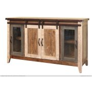 "60"" TV Stand w/2 Glass doors w/1 middle shelf, 2 Sliding doors, w/2 shelves Product Image"