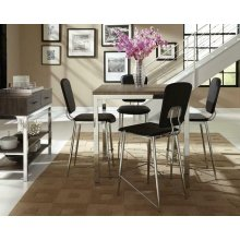 Eldridge Weathered Grey and Chrome Five-piece Counter-height Dining Set
