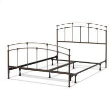 Fenton Complete Metal Bed and Steel Support Frame with Gentle Curves, Black Walnut Finish, Queen