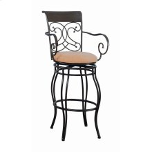 Transitional Dark Brown Metal Bar Stool