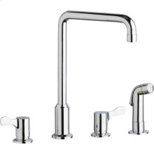 """Elkay 8"""" Centerset Concealed Deck Mount Faucet with Arc Spout and 2-5/8"""" Lever Handles with Side Spray Chrome"""