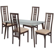 5 Piece Espresso Wood Dining Table Set with Glass Top and High Triple Window Pane Back Wood Dining Chairs - Padded Seats