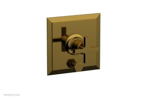 HEX MODERN Pressure Balance Shower Plate with Diverter and Handle Trim Set - Cross Handle 4-101 - French Brass Product Image
