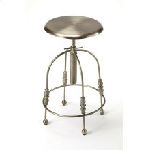 Enhance your kitchen, bar or work space with this industrial barstool. With a round seat that is adjustable in height and can be locked into position by rotating the collar along its post clockwise until tight, the stool's four legs have unique filigree o