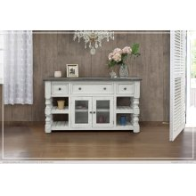 "60"" TV Stand w/ 3 Drawer & 2 Glass Doors"