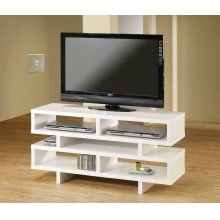 Contemporary White Open Storage TV Console