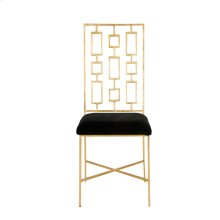 """Gold Leaf Dining Chair W. Black Velvet Seat Seat Height - 18.5"""""""