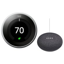Thermostat Polished Steel With Google Mini Black