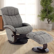 Alta Recliner and Ottoman in Teatro Graphite Fabric