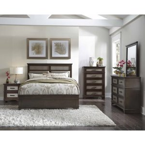 6/6 King Panel Bed - Chocolate/Champagne Finish