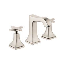 Brushed Nickel Widespread Faucet 110 with Cross Handles and Pop-Up Drain, 1.2 GPM