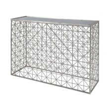 Silver Leaf Crosshatch Console Table With Inset Mirror Top.