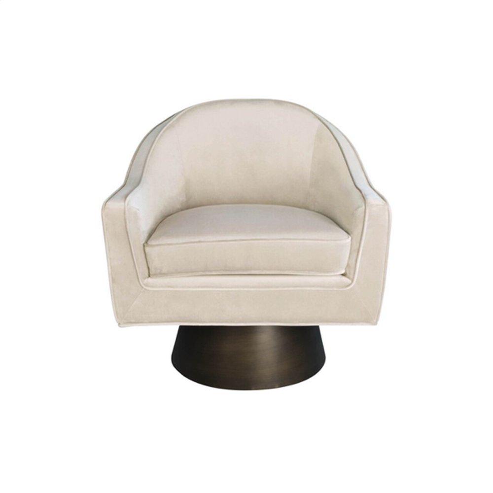 Modern Swivel Chair With Bronze Base In Cream Velvet