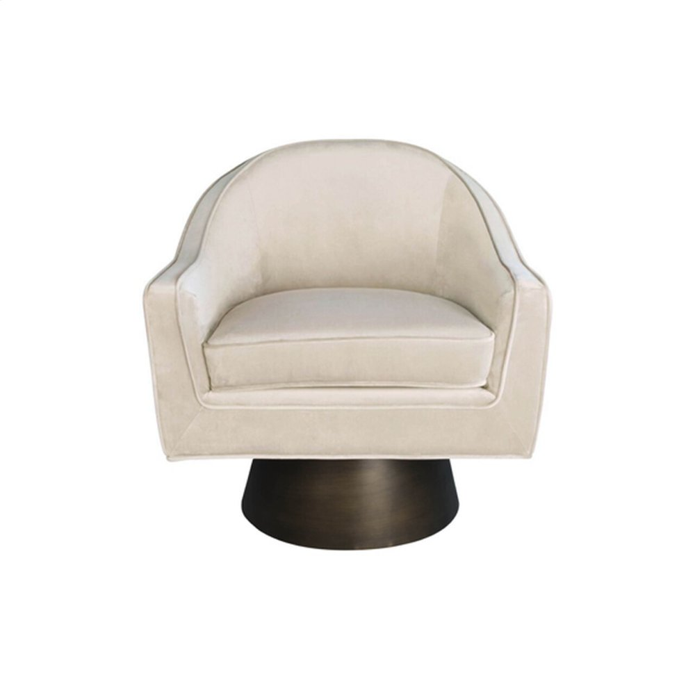 Modern Swivel Chair With Bronze Base In Cream Velvet