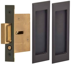 Passage Pocket Door Lock with Traditional Rectangular Trim featuring Mortise Edge Pull in (US10B Black, Oil-Rubbed, Lacquered) Product Image