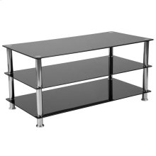 Black Glass TV Stand with Stainless Steel Frame