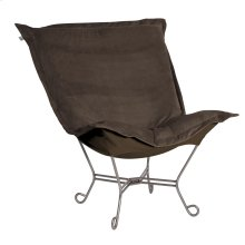 Scroll Puff Chair Bella Chocolate Titanium Frame