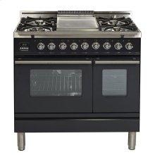 "36"" - 5 Burner, Double Oven w/ Griddle in Matte Graphite"