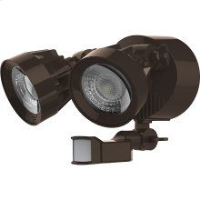 24W LED Dual Head Security Light Fixture - Bronze Finish - Motion Sensor