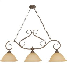 3-Light Island Pendant Light Fixture in Sonoma Bronze with Champagne Glass