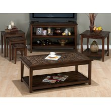 Baroque Brown Sofa/media Table With Mosaic Tile Inlay