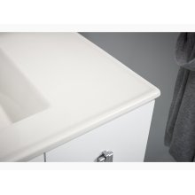 "Linen White 36"" Bathroom Vanity Cabinet With Legs, 1 Door and 3 Drawers On Right"