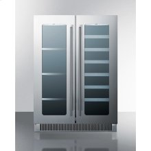 French Door Dual Zone Wine and Beverage Center for Built-in or Freestanding Use, With Seamless Stainless Steel Trimmed Low-e Glass Doors and Black Cabinet