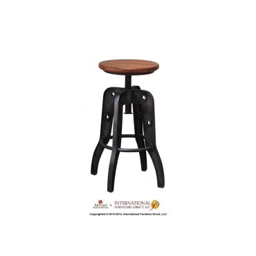 "24-30"" Adjustable Height Swivel Stool, Wooden Seat, Iron base"