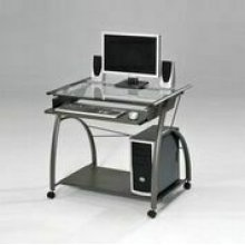 PEWTER COMPUTER DESK W/GL TOP