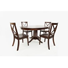 Everyday Classics Round To Oval Dining Table With 4 Ladder Back Chairs- Cherry