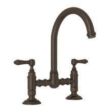 Tuscan Brass Italian Kitchen San Julio Deck Mount C-Spout Bridge Kitchen Faucet with Metal Lever