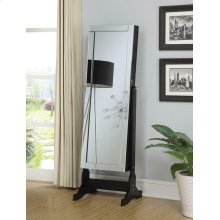 Transitional Black Cheval Mirror and Jewelry Armoire