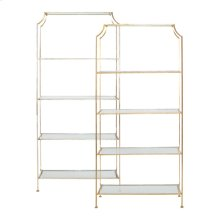 "Silver Leaf Etagere With Clear Glass Shelves Top Shelf 21.5"" H Remaining Shelves 17.5"" H"