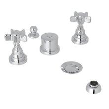 Polished Chrome San Giovanni Five Hole Bidet Faucet with Five Spoke Cross Handle