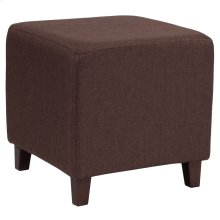 Upholstered Ottoman Pouf in Brown Fabric