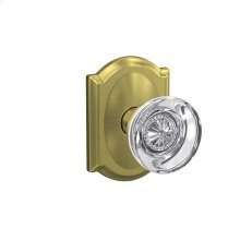 Custom Hobson Non-Turning Glass Knob with Camelot Trim - Satin Brass