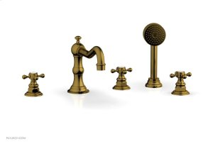 HENRI Deck Tub Set with Hand Shower with Cross Handles 161-48 - French Brass Product Image