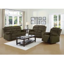 Rodman Chocolate Reclining Three-piece Living Room Set