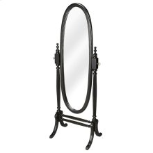 This gracious oval cheval mirror adds an often-overlooked decorative touch to a room. Featuring a swivel-tilt design, this full-length mirror can easily be set to a desired angle by adjusting the antique brass finished thumb screws on either side. Crafted