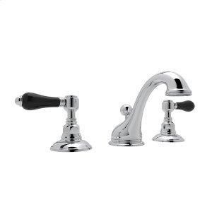 Polished Chrome Viaggio C-Spout Widespread Lavatory Faucet with Black Porcelain Lever Product Image