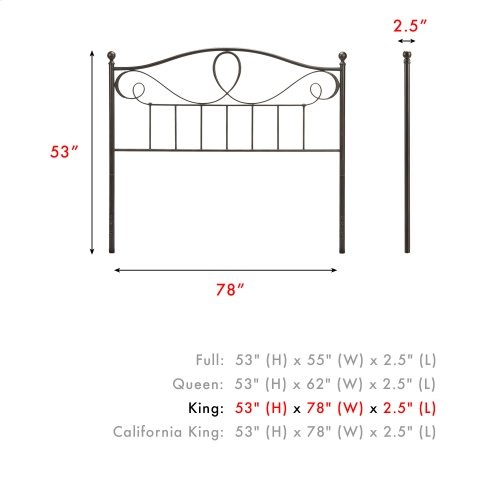 Sylvania Metal Headboard Panel with Elegant Pattern of Curves and Twists, French Roast Finish, King