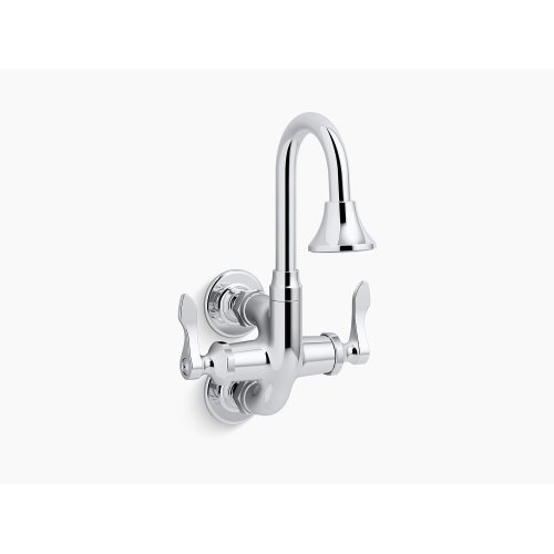 """Polished Chrome Triton Bowe Cannock Full-flow Service Sink Faucet With 3-11/16"""" Gooseneck Spout and Lever Handles"""