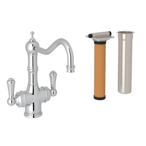 Polished Chrome Perrin & Rowe Edwardian Filtration 2-Lever Bar/Food Prep Faucet with Traditional Metal Lever Product Image