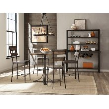 Jennings Round Counter Height Table W/ Metal Base and Non Swivel Stools