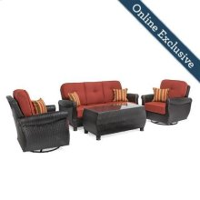 Breckenridge 4 Piece Patio Furniture Set, Brick Red