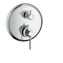 Chrome Thermostat for concealed installation with lever handle and shut-off valve